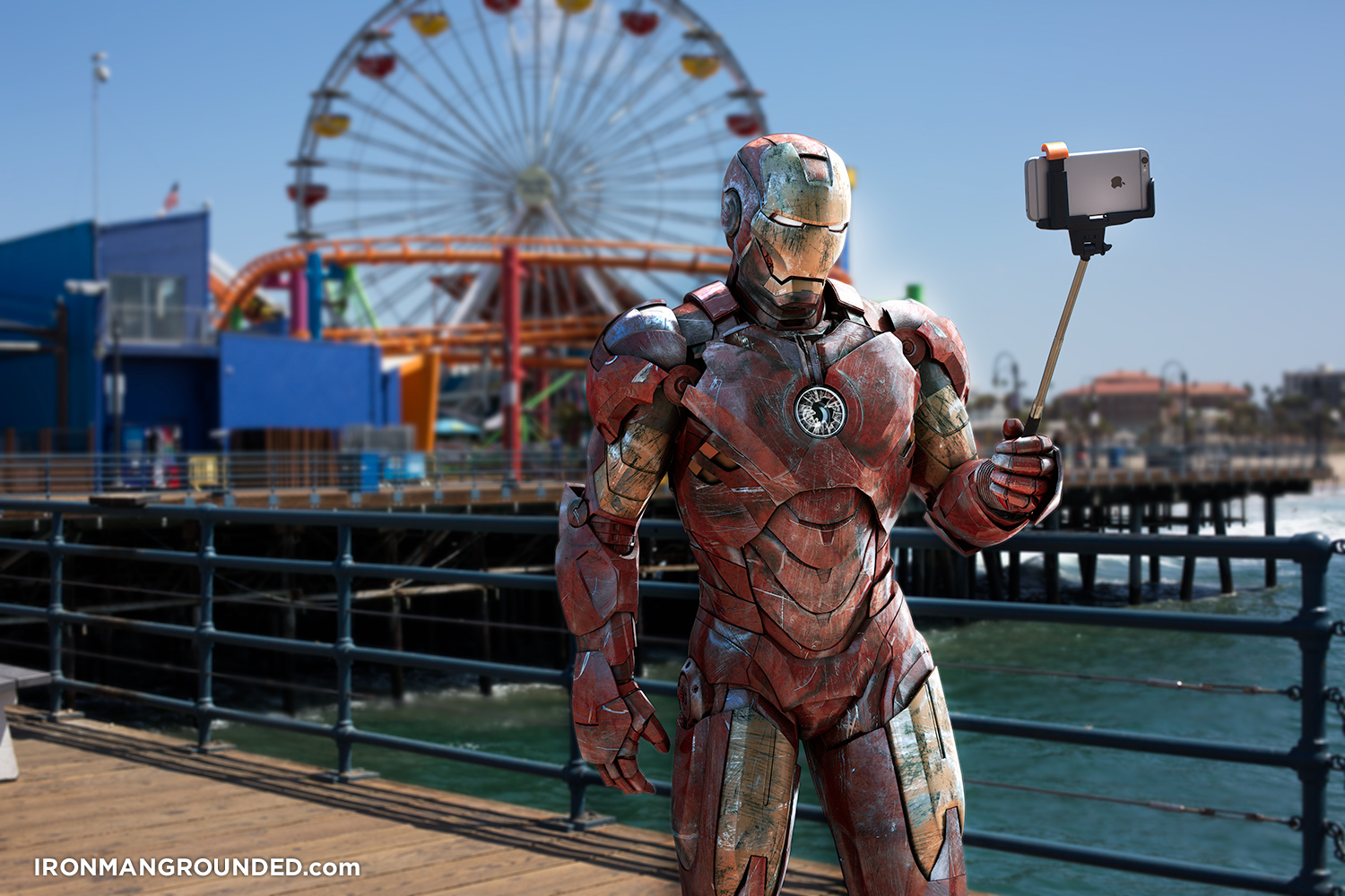 iron_man_grounded_selfie_stick_santa_monica_pier